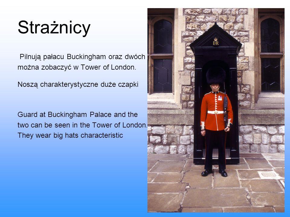 Strażnicy Pilnują pałacu Buckingham oraz dwóch można zobaczyć w Tower of London. Noszą charakterystyczne duże czapki Guard at Buckingham Palace and th