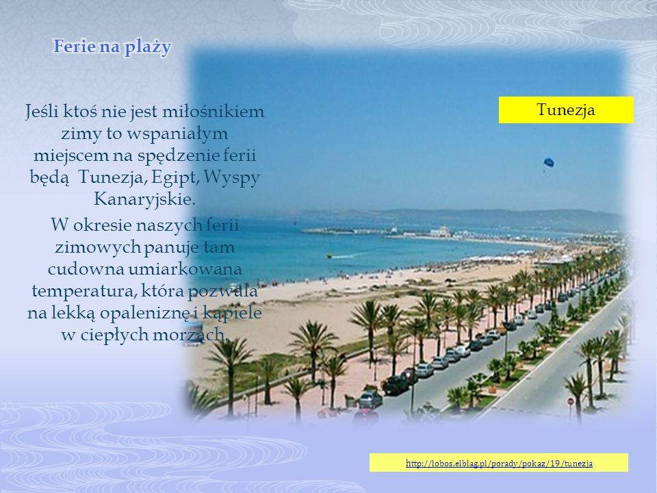 Jeśli ktoś nie jest miłośnikiem zimy to wspaniałym miejscem na spędzenie ferii będą Tunezja, Egipt, Wyspy Kanaryjskie. W okresie naszych ferii zimowyc
