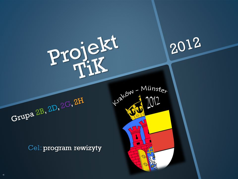 Projekt TiK Grupa 2B, 2D, 2G, 2H 2012 Cel: program rewizyty