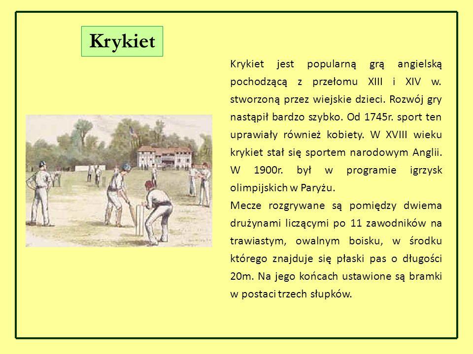 Krykiet Krykiet jest popularną grą angielską pochodzącą z przełomu XIII i XIV w. stworzoną przez wiejskie dzieci. Rozwój gry nastąpił bardzo szybko. O