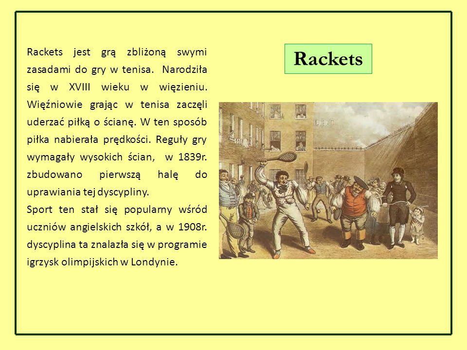 Rackets Rackets jest grą zbliżoną swymi zasadami do gry w tenisa. Narodziła się w XVIII wieku w więzieniu. Więźniowie grając w tenisa zaczęli uderzać