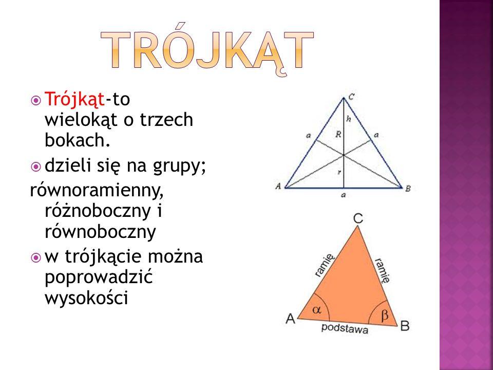 Trójkąt-to wielokąt o trzech bokach. dzieli się na grupy; równoramienny, różnoboczny i równoboczny w trójkącie można poprowadzić wysokości