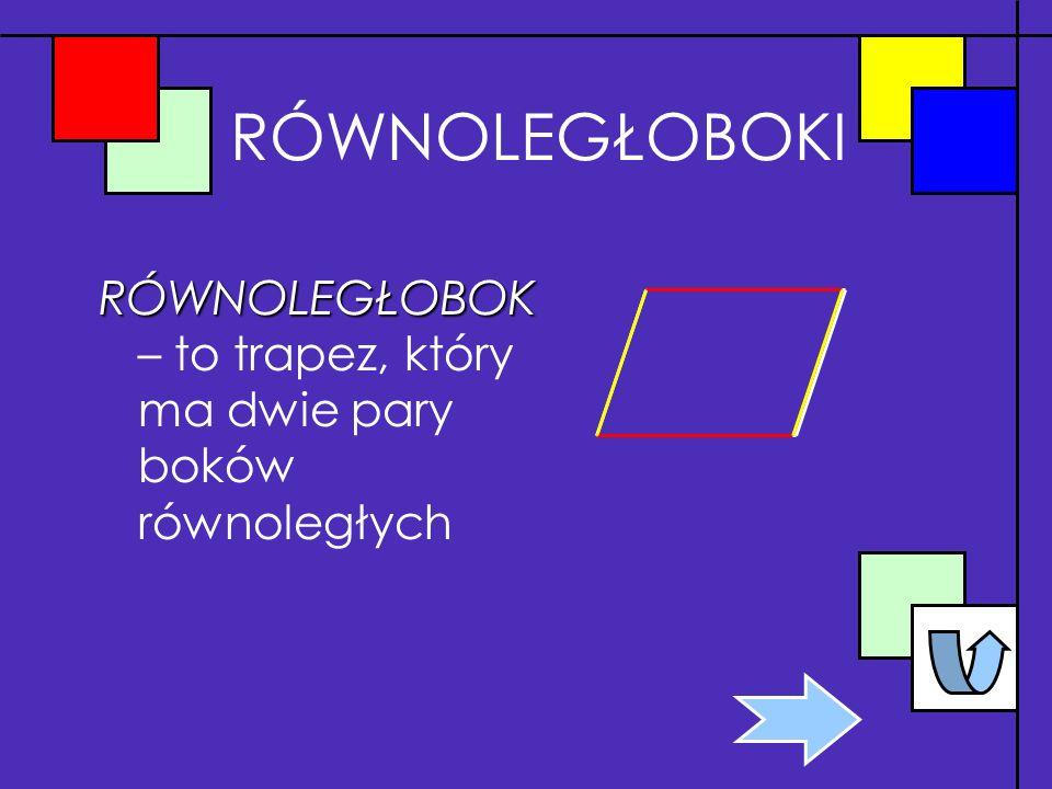 RÓWNOLEGŁOBOKI RÓWNOLEGŁOBOK RÓWNOLEGŁOBOK – to trapez, który ma dwie pary boków równoległych