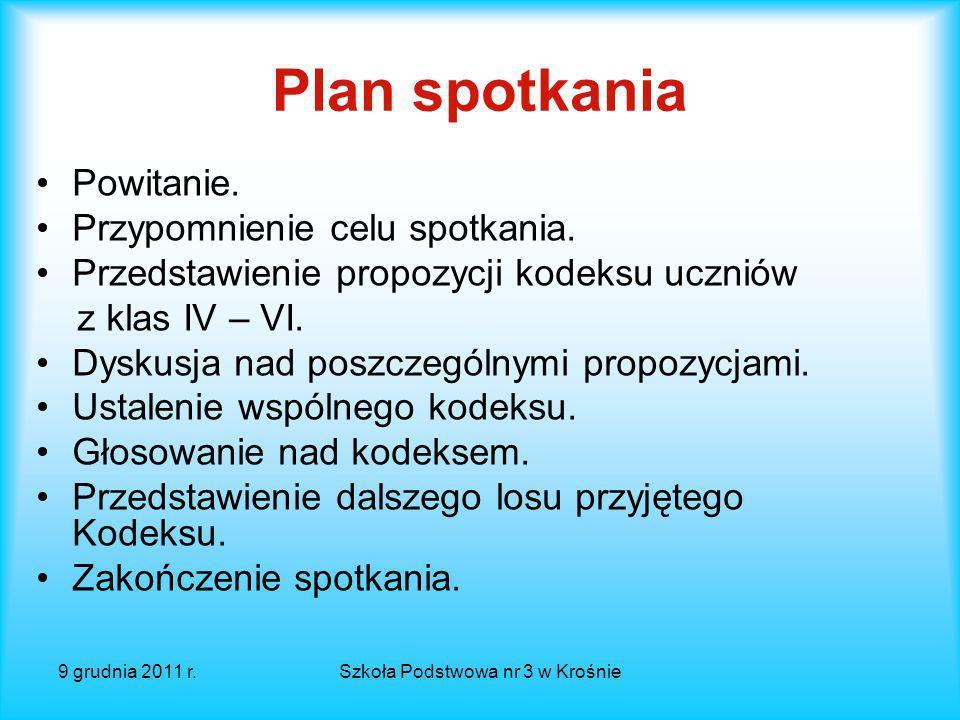 9 grudnia 2011 r.Szkoła Podstwowa nr 3 w Krośnie DEBATA SZKOLNA KODEKS 2.0