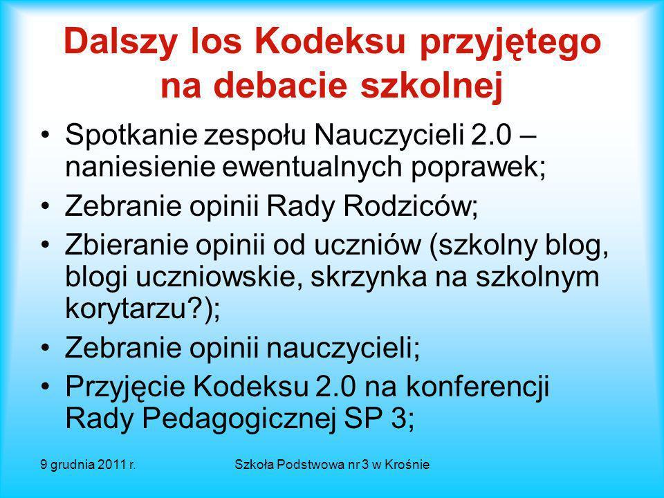 9 grudnia 2011 r.Szkoła Podstwowa nr 3 w Krośnie Plan spotkania Powitanie.