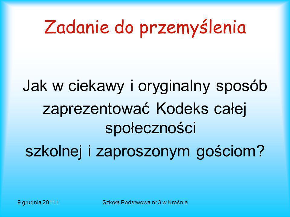 9 grudnia 2011 r.Szkoła Podstwowa nr 3 w Krośnie Dalszy los Kodeksu przyjętego na debacie szkolnej Wywieszenie Kodeksu na szkolnym korytarzu; Testowan