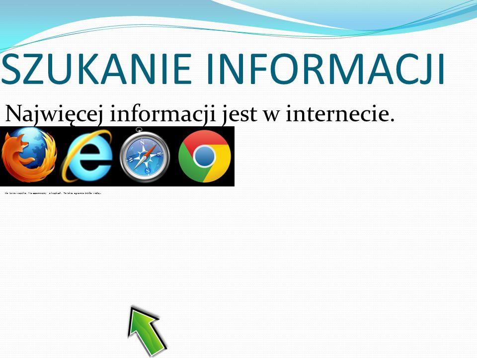 SZUKANIE INFORMACJI Najwięcej informacji jest w internecie.