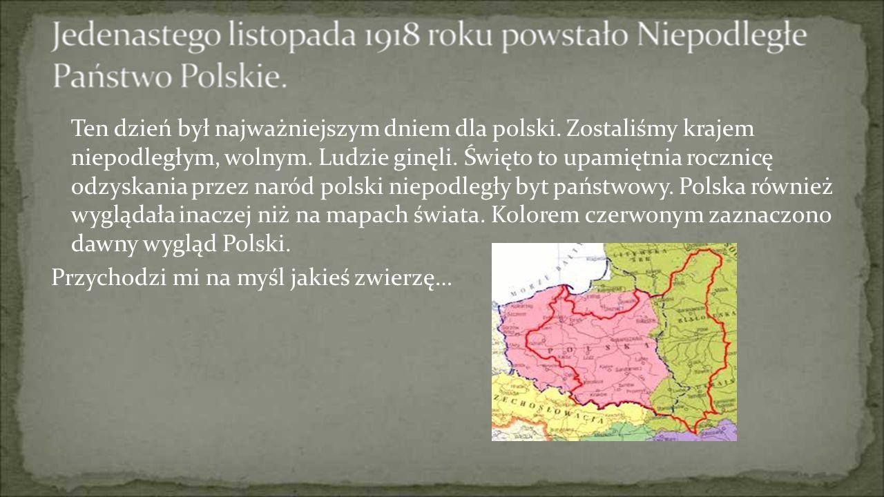 Ten dzień był najważniejszym dniem dla polski. Zostaliśmy krajem niepodległym, wolnym. Ludzie ginęli. Święto to upamiętnia rocznicę odzyskania przez n