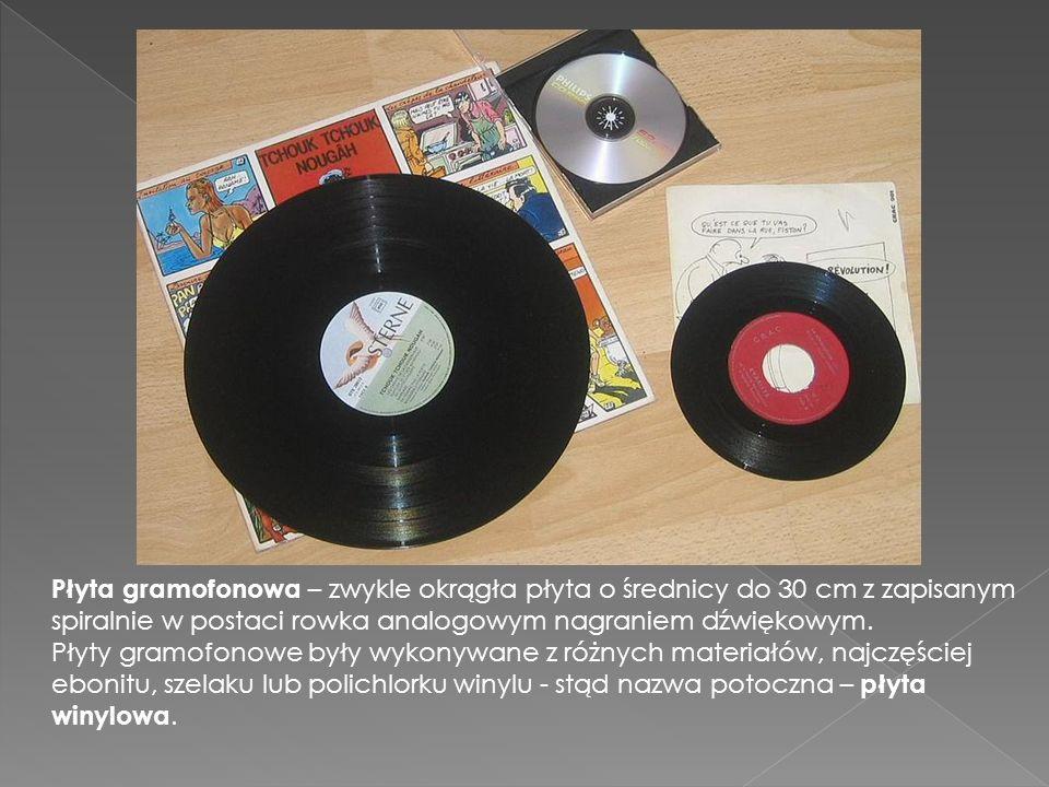 Płyta gramofonowa – zwykle okrągła płyta o średnicy do 30 cm z zapisanym spiralnie w postaci rowka analogowym nagraniem dźwiękowym. Płyty gramofonowe