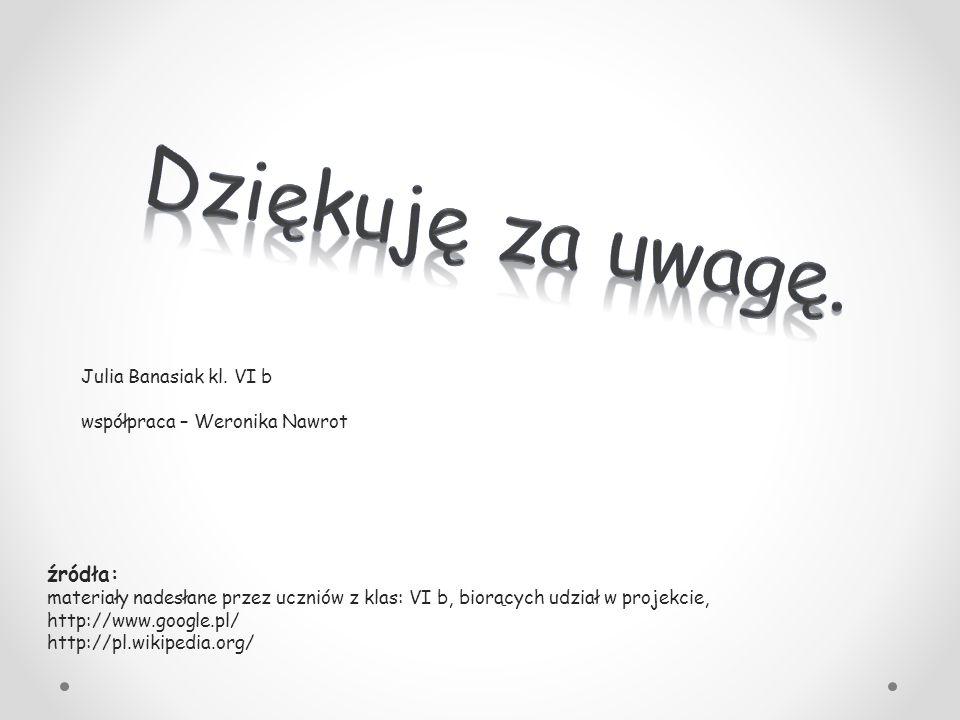 źródła: materiały nadesłane przez uczniów z klas: VI b, biorących udział w projekcie, http://www.google.pl/ http://pl.wikipedia.org/ Julia Banasiak kl