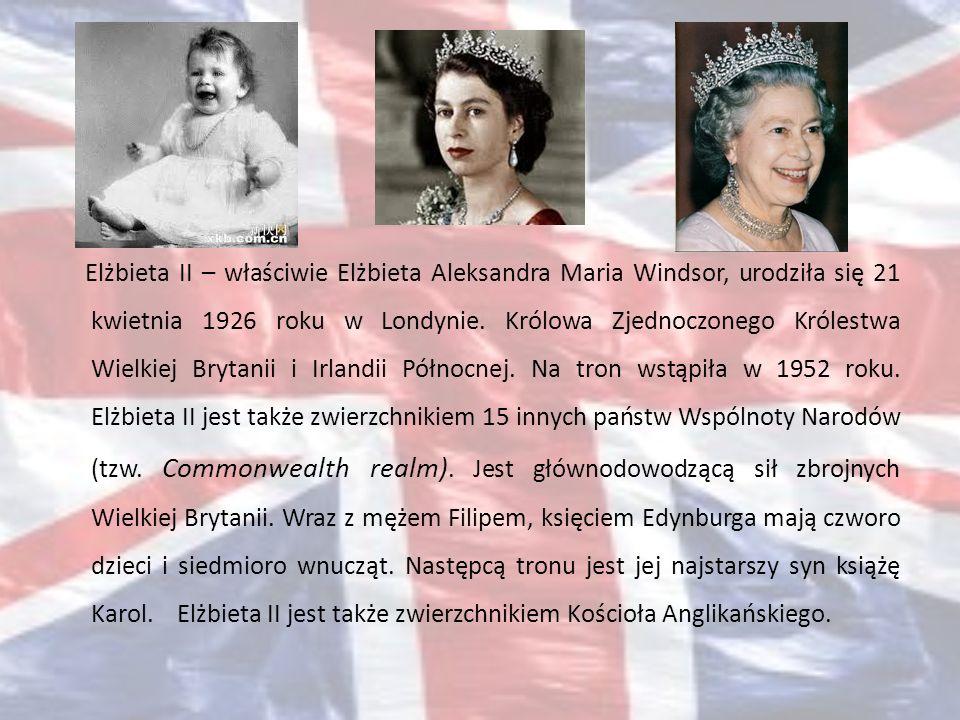 Elżbieta II – właściwie Elżbieta Aleksandra Maria Windsor, urodziła się 21 kwietnia 1926 roku w Londynie. Królowa Zjednoczonego Królestwa Wielkiej Bry