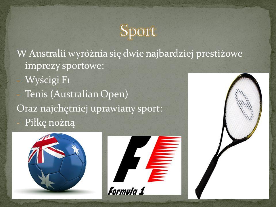 W Australii wyróżnia się dwie najbardziej prestiżowe imprezy sportowe: - Wyścigi F1 - Tenis (Australian Open) Oraz najchętniej uprawiany sport: - Piłk