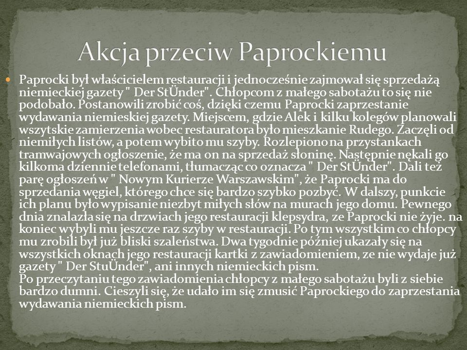 Paprocki był właścicielem restauracji i jednocześnie zajmował się sprzedażą niemieckiej gazety