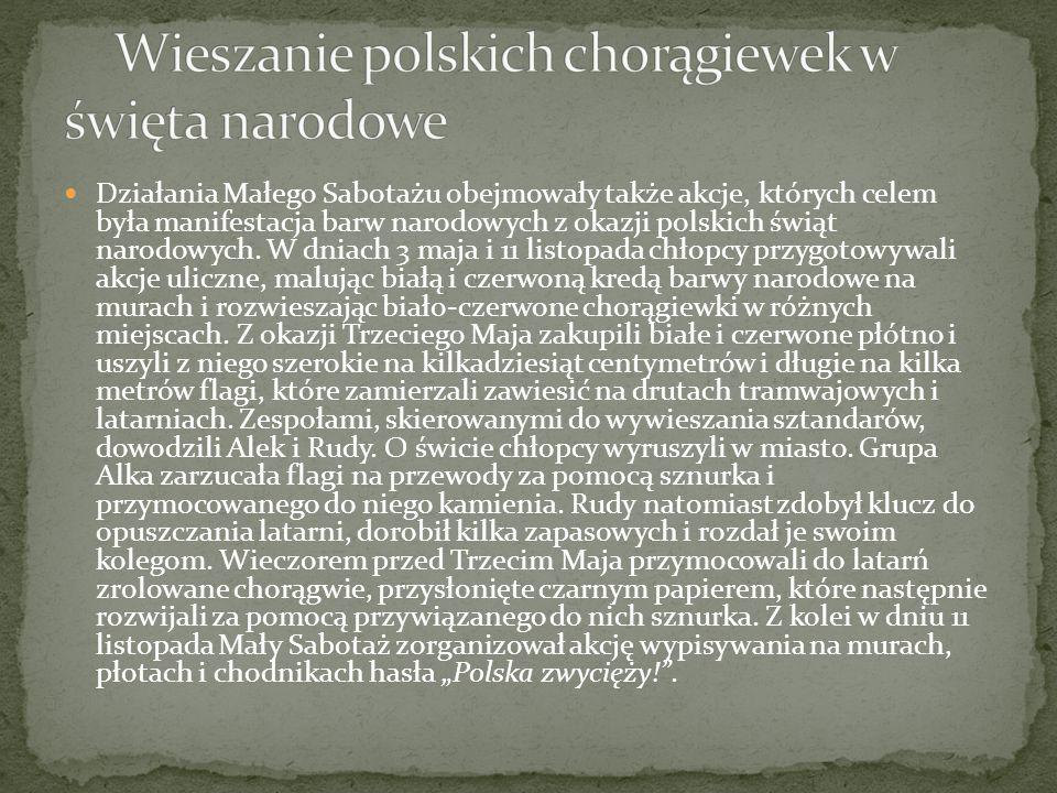 Działania Małego Sabotażu obejmowały także akcje, których celem była manifestacja barw narodowych z okazji polskich świąt narodowych. W dniach 3 maja