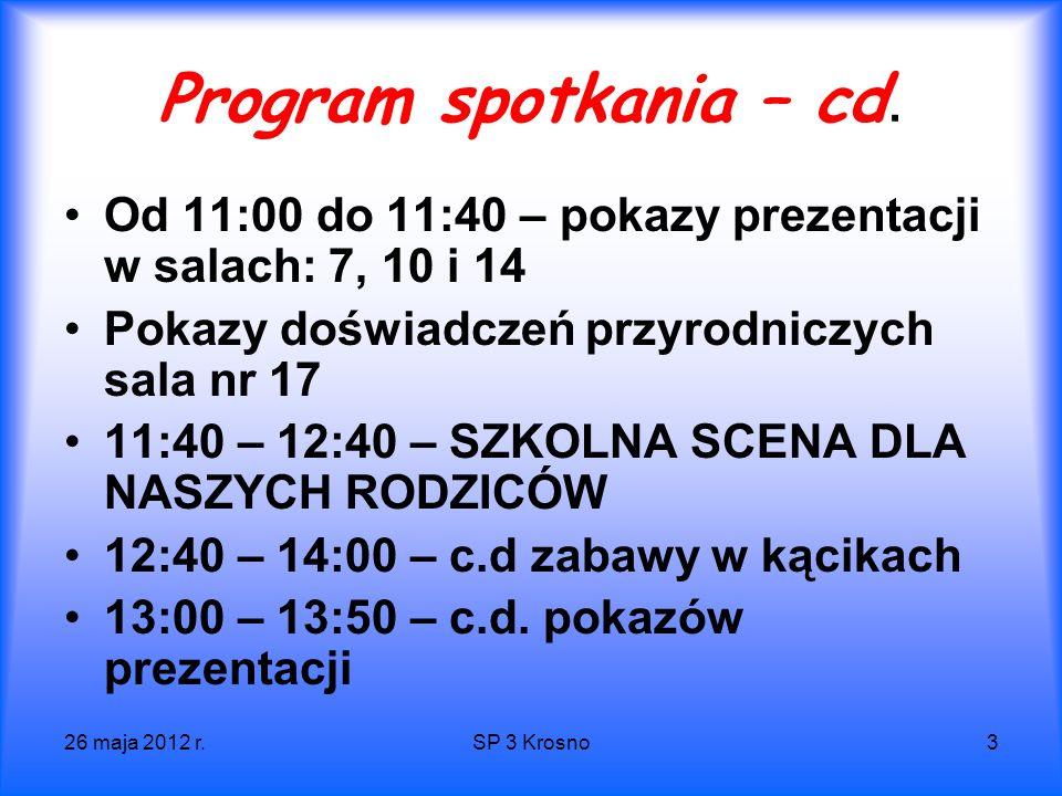 26 maja 2012 r.SP 3 Krosno4 Program spotkania – cd.