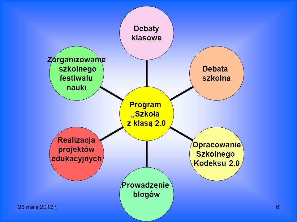 26 maja 2012 r.SP 3 Krosno6 Program Szkoła z klasą 2.0 Debaty klasowe Debata szkolna Opracowanie Szkolnego Kodeksu 2.0 Prowadzenie blogów Realizacja projektów edukacyjnych Zorganizowanie szkolnego festiwalu nauki