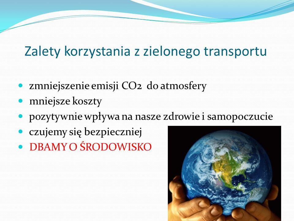 Zalety korzystania z zielonego transportu zmniejszenie emisji CO2 do atmosfery mniejsze koszty pozytywnie wpływa na nasze zdrowie i samopoczucie czuje