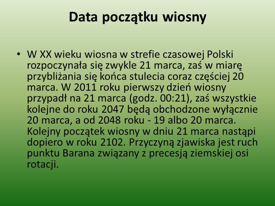 Data początku wiosny W XX wieku wiosna w strefie czasowej Polski rozpoczynała się zwykle 21 marca, zaś w miarę przybliżania się końca stulecia coraz c