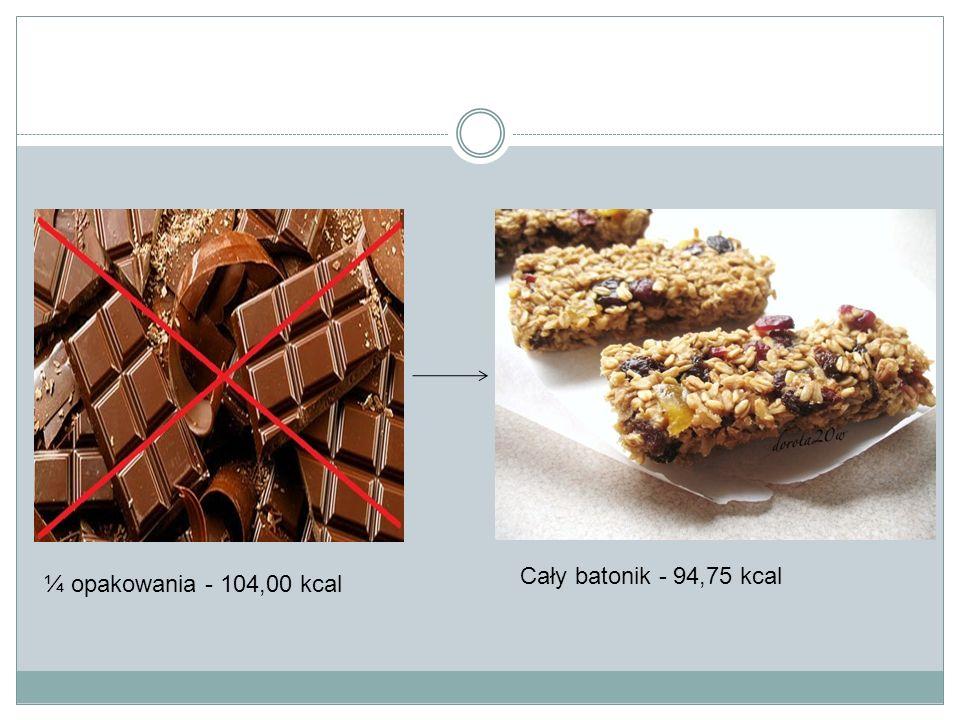 ¼ opakowania - 104,00 kcal Cały batonik - 94,75 kcal