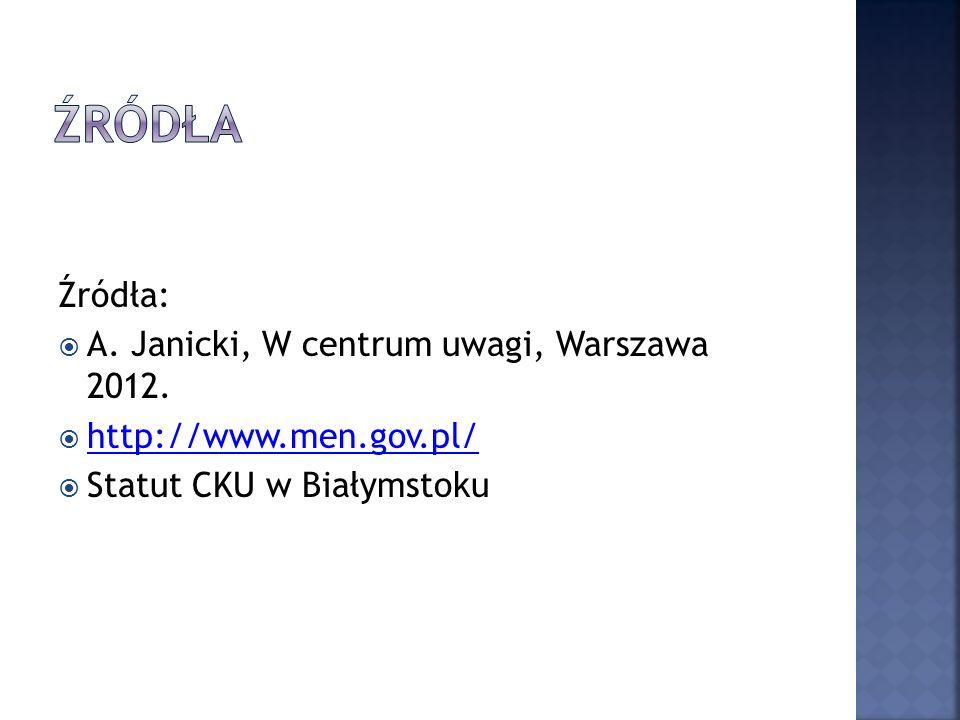 Źródła: A. Janicki, W centrum uwagi, Warszawa 2012. http://www.men.gov.pl/ Statut CKU w Białymstoku