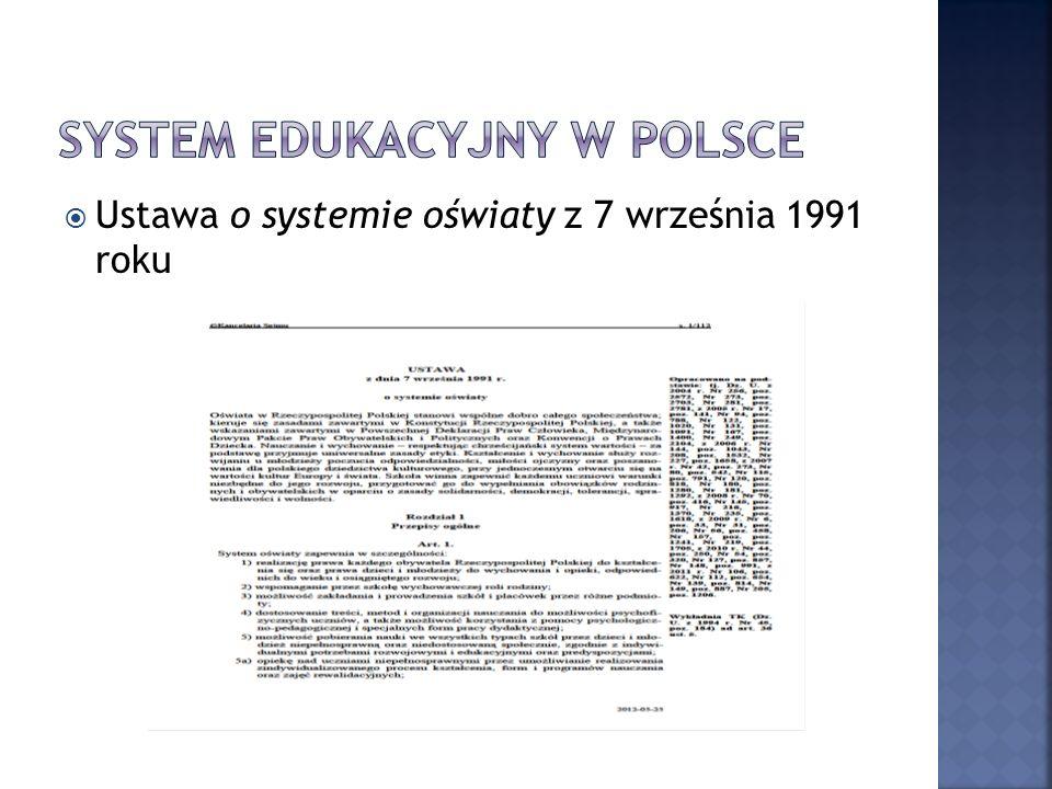 Ustawa o systemie oświaty z 7 września 1991 roku