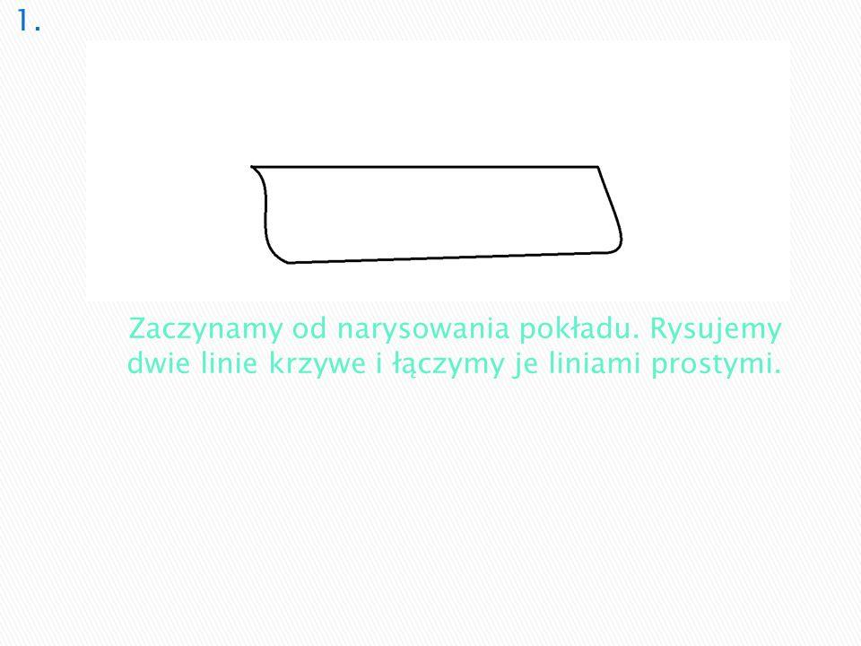 Zaczynamy od narysowania pokładu. Rysujemy dwie linie krzywe i łączymy je liniami prostymi.
