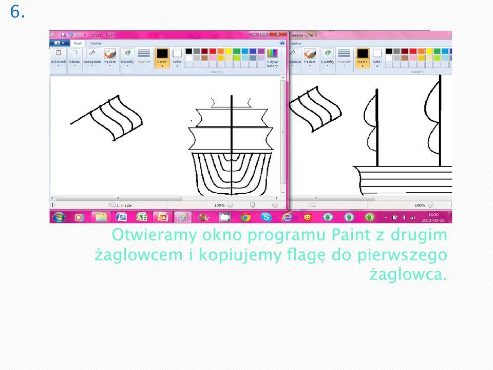 Otwieramy okno programu Paint z drugim żaglowcem i kopiujemy flagę do pierwszego żaglowca.