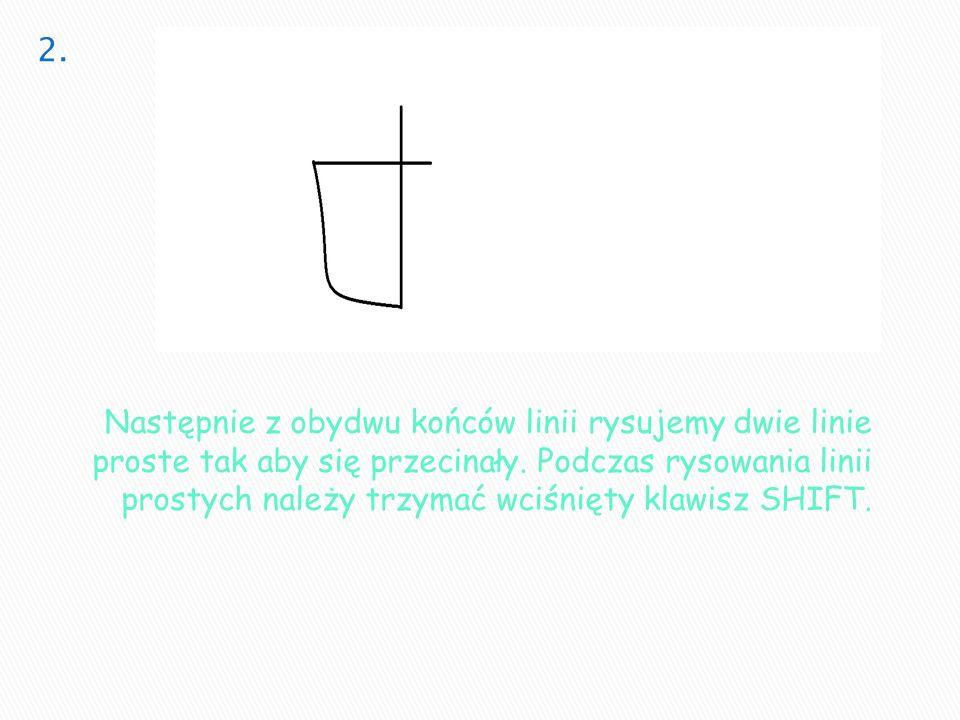 Następnie z obydwu końców linii rysujemy dwie linie proste tak aby się przecinały. Podczas rysowania linii prostych należy trzymać wciśnięty klawisz S