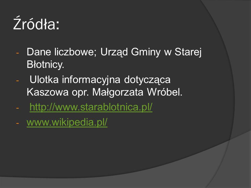 Źródła: - Dane liczbowe; Urząd Gminy w Starej Błotnicy. - Ulotka informacyjna dotycząca Kaszowa opr. Małgorzata Wróbel. - http://www.starablotnica.pl/