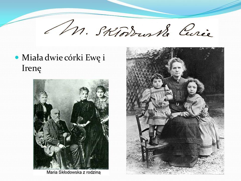Pracowała razem z mężem Piotrem Curie