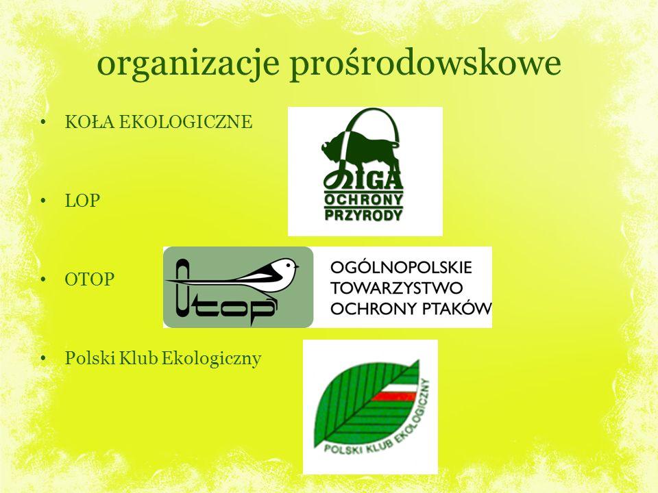 organizacje prośrodowskowe KOŁA EKOLOGICZNE LOP OTOP Polski Klub Ekologiczny
