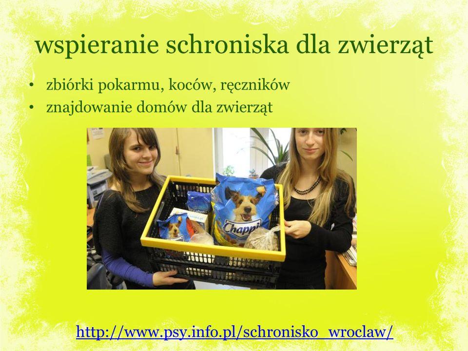 wspieranie schroniska dla zwierząt zbiórki pokarmu, koców, ręczników znajdowanie domów dla zwierząt http://www.psy.info.pl/schronisko_wroclaw/
