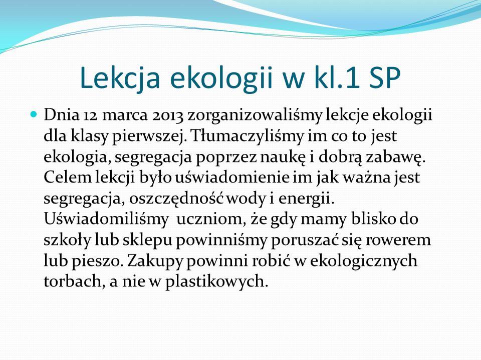 Lekcja ekologii w kl.1 SP Dnia 12 marca 2013 zorganizowaliśmy lekcje ekologii dla klasy pierwszej. Tłumaczyliśmy im co to jest ekologia, segregacja po