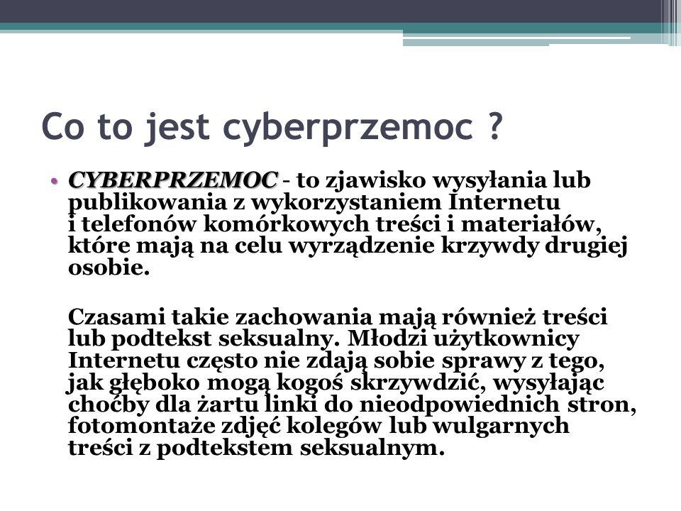 Co to jest cyberprzemoc ? CYBERPRZEMOCCYBERPRZEMOC - to zjawisko wysyłania lub publikowania z wykorzystaniem Internetu i telefonów komórkowych treści