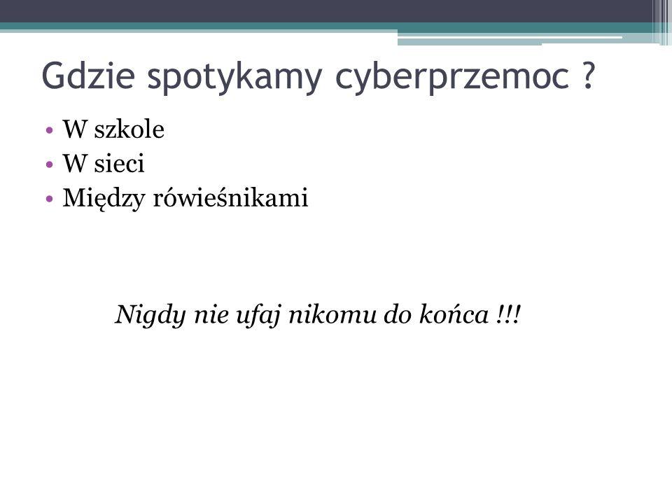 Gdzie spotykamy cyberprzemoc ? W szkole W sieci Między rówieśnikami Nigdy nie ufaj nikomu do końca !!!