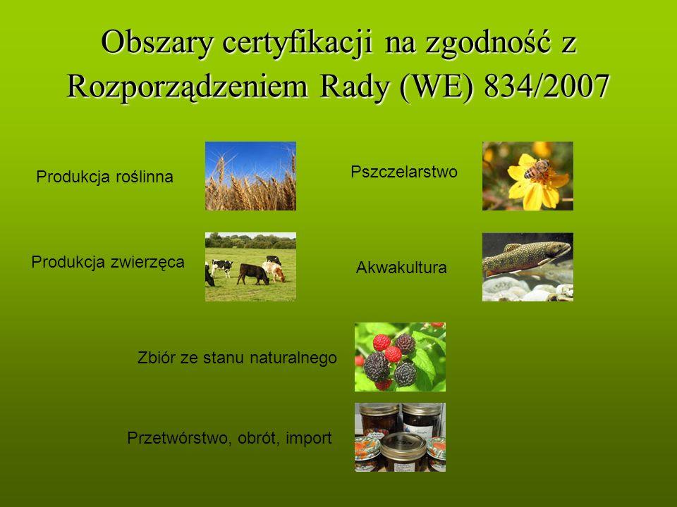 Obszary certyfikacji na zgodność z Rozporządzeniem Rady (WE) 834/2007 Produkcja roślinna Produkcja zwierzęca Pszczelarstwo Akwakultura Przetwórstwo, o