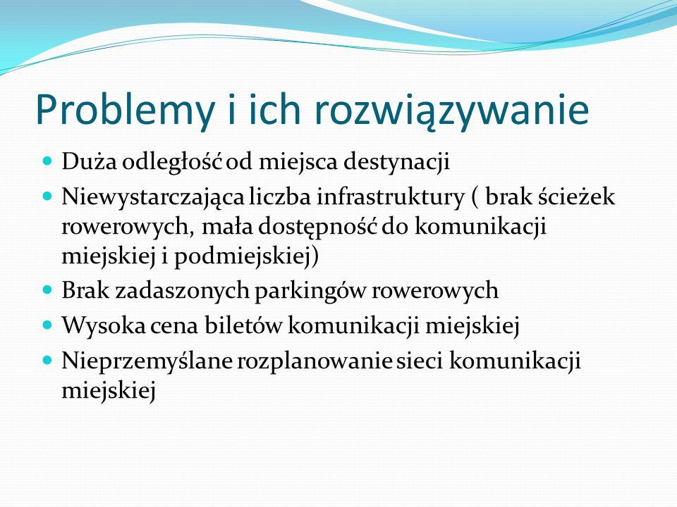 Problemy i ich rozwiązywanie Duża odległość od miejsca destynacji Niewystarczająca liczba infrastruktury ( brak ścieżek rowerowych, mała dostępność do
