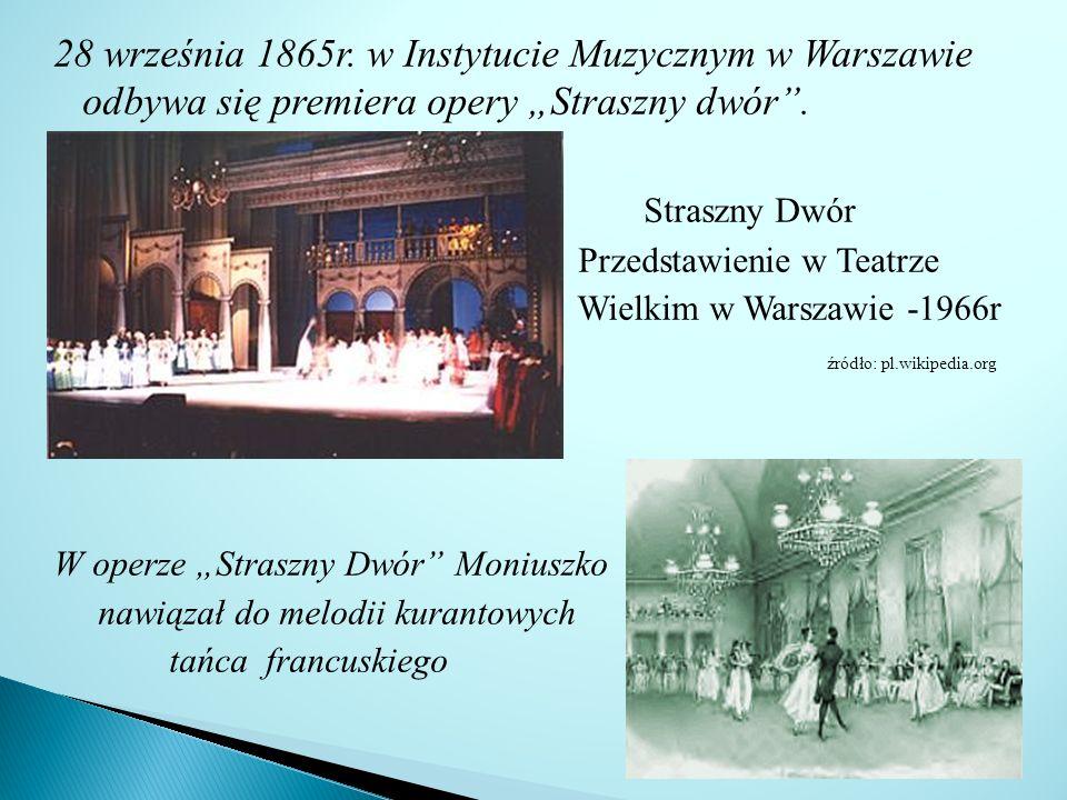 28 września 1865r.w Instytucie Muzycznym w Warszawie odbywa się premiera opery Straszny dwór.