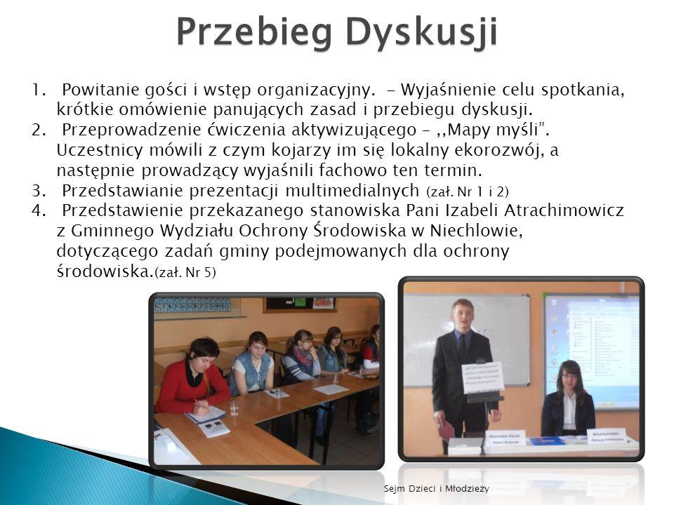 Sejm Dzieci i Młodzieży Przebieg Dyskusji 1. Powitanie gości i wstęp organizacyjny. - Wyjaśnienie celu spotkania, krótkie omówienie panujących zasad i
