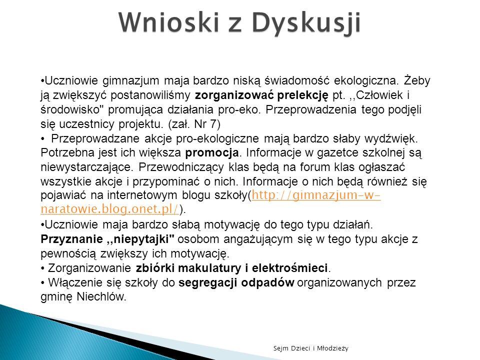Sejm Dzieci i Młodzieży Wnioski z Dyskusji Uczniowie gimnazjum maja bardzo niską świadomość ekologiczna. Żeby ją zwiększyć postanowiliśmy zorganizować