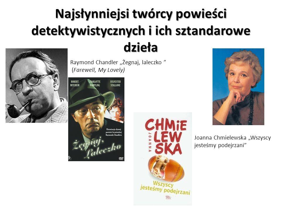 Najsłynniejsi twórcy powieści detektywistycznych i ich sztandarowe dzieła Raymond Chandler Żegnaj, laleczko (Farewell, My Lovely) Joanna Chmielewska Wszyscy jesteśmy podejrzani