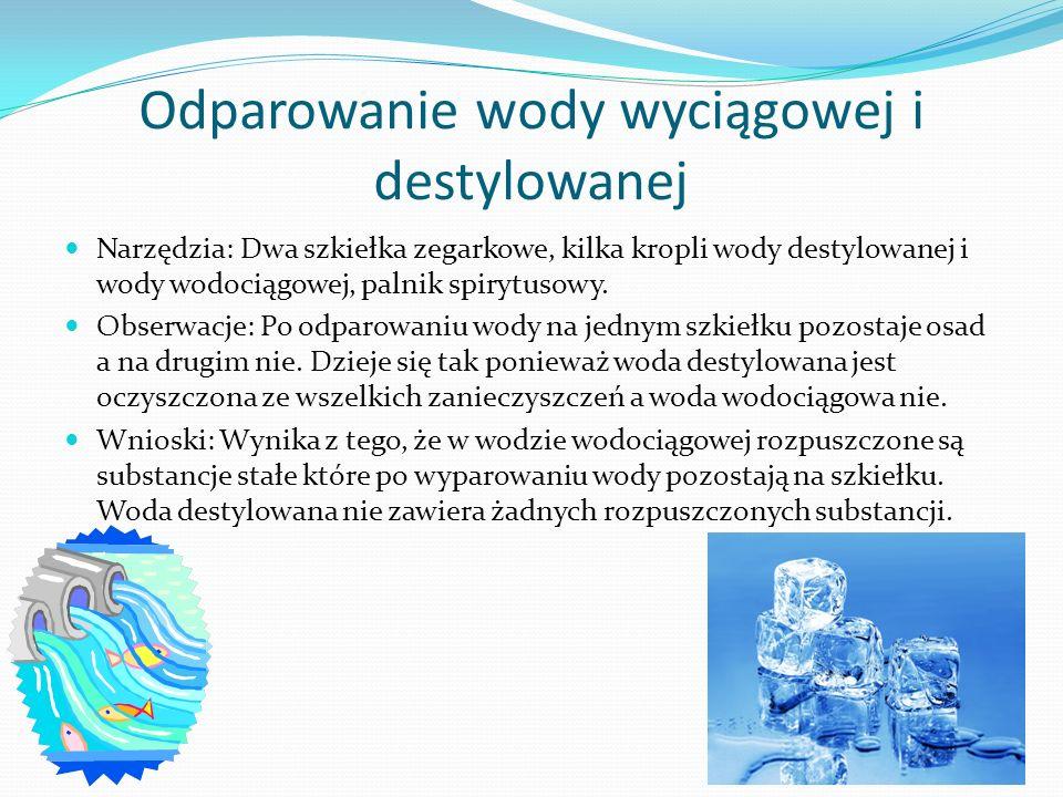 Odparowanie wody wyciągowej i destylowanej Narzędzia: Dwa szkiełka zegarkowe, kilka kropli wody destylowanej i wody wodociągowej, palnik spirytusowy.