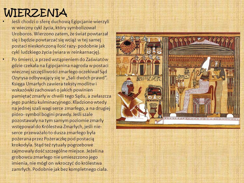 WIERZENIA Jeśli chodzi o sferę duchową Egipcjanie wierzyli w wieczny cykl życia, który symbolizował Uroboros. Wierzono zatem, że świat powtarzał się i
