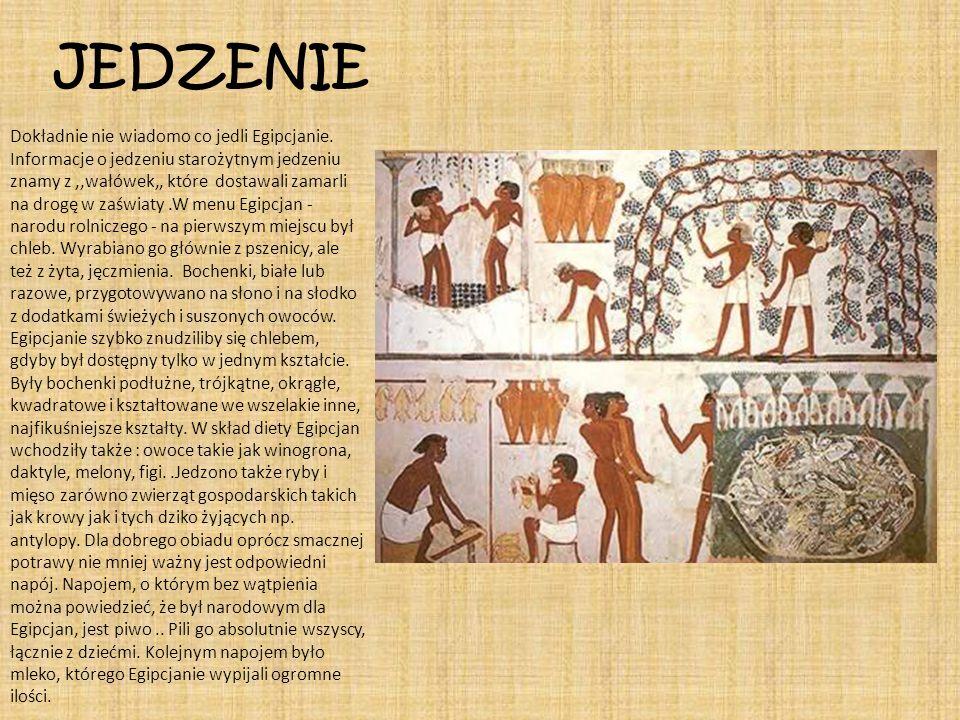 JEDZENIE Dokładnie nie wiadomo co jedli Egipcjanie. Informacje o jedzeniu starożytnym jedzeniu znamy z,,wałówek,, które dostawali zamarli na drogę w z