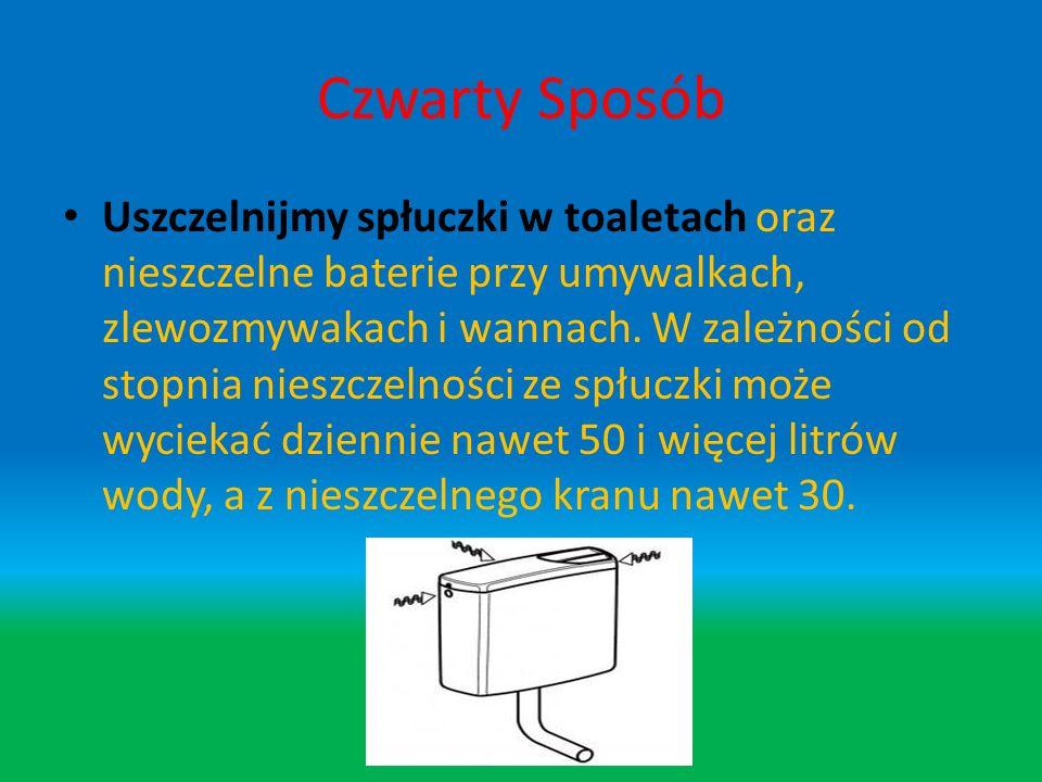 Trzeci Sposób Unikajmy zbędnego spłukiwania toalety na przykład po wrzucaniu do niej śmieci, niedopałków papierosów, chusteczek higienicznych itp., że