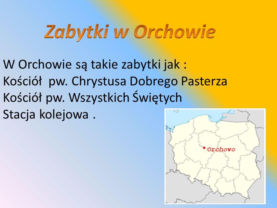 W Orchowie są takie zabytki jak : Kościół pw. Chrystusa Dobrego Pasterza Kościół pw. Wszystkich Świętych Stacja kolejowa.