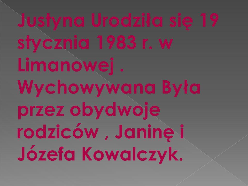 Justyna Urodziła się 19 stycznia 1983 r. w Limanowej.