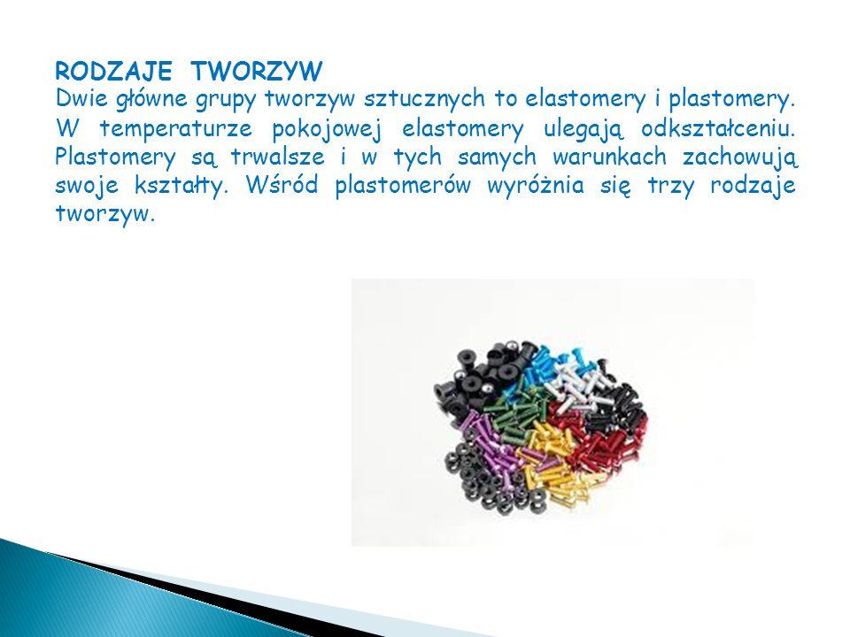 RODZAJE TWORZYW Dwie główne grupy tworzyw sztucznych to elastomery i plastomery.