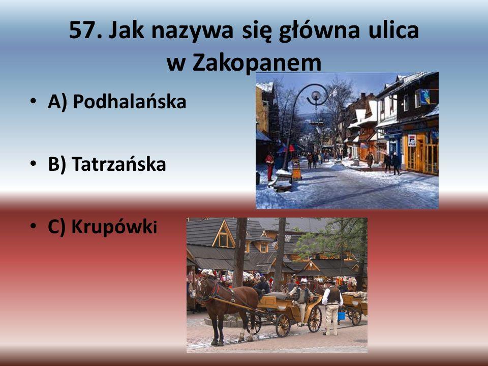 57. Jak nazywa się główna ulica w Zakopanem A) Podhalańska B) Tatrzańska C) Krupówk i
