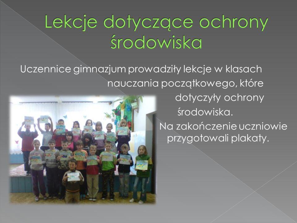 Uczennice gimnazjum prowadziły lekcje w klasach nauczania początkowego, które dotyczyły ochrony środowiska.
